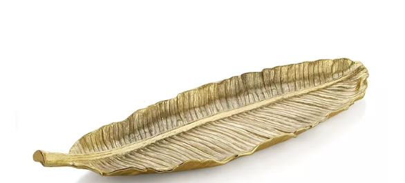 Banana Leaf Large Gold Platter