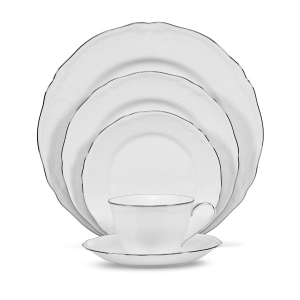 Princess Bouquet 67 Piece Dinner Set, Platinum