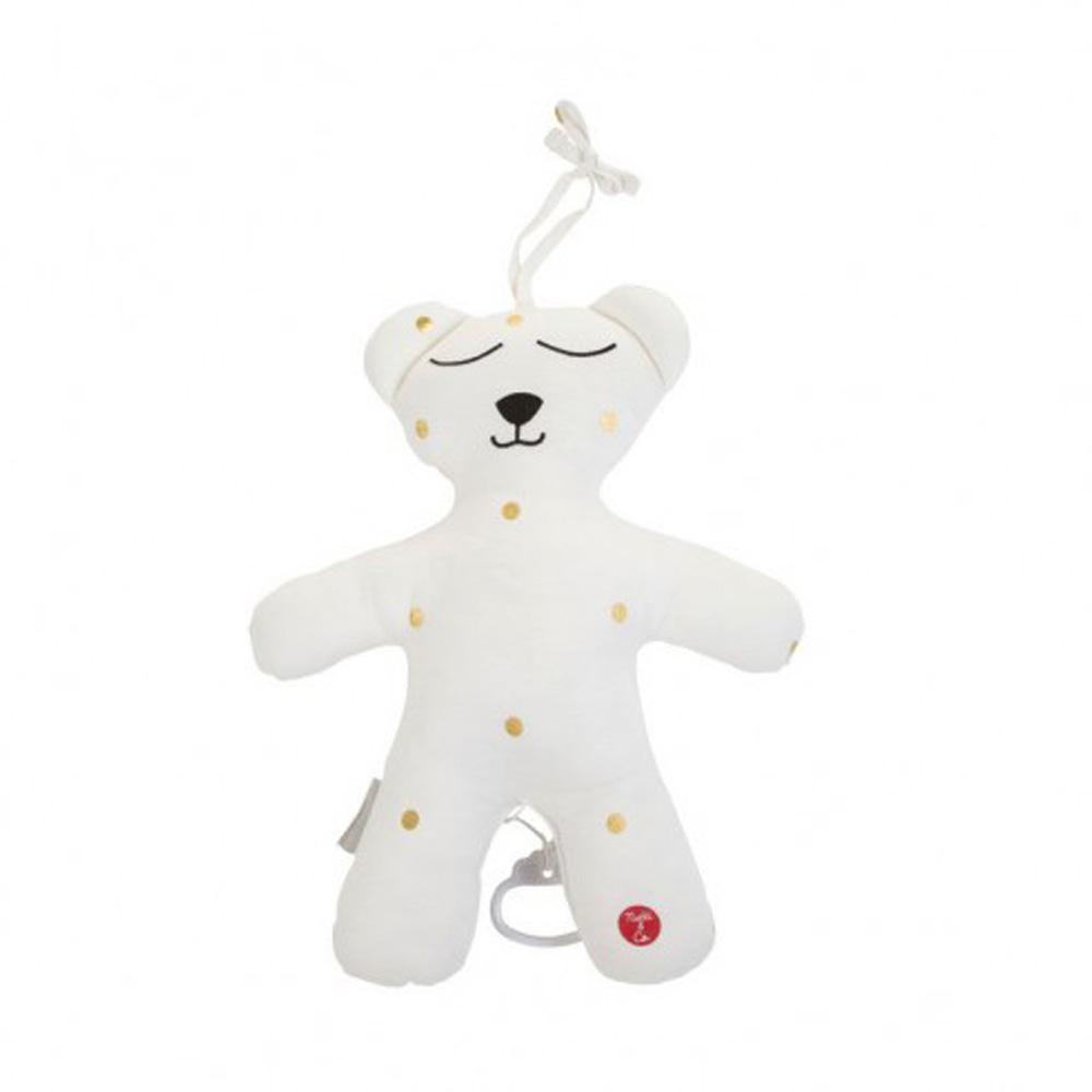 Childhome Teddy Bear Small + Music Box Gold Dots