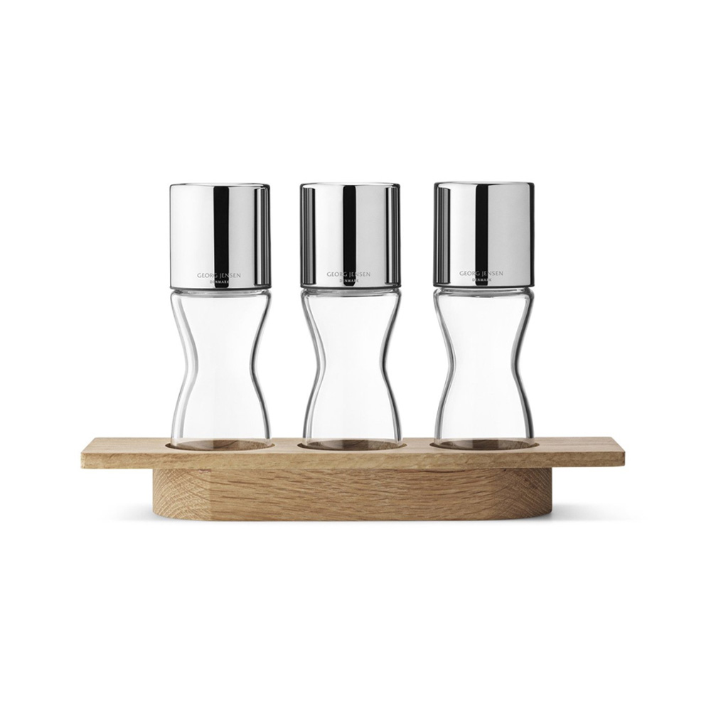 Alfredo Three Herb Grinders Set With Oak Stand