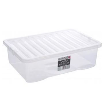 42L Crystal Underbed box withlid 80x40x18cm  Clearwhite