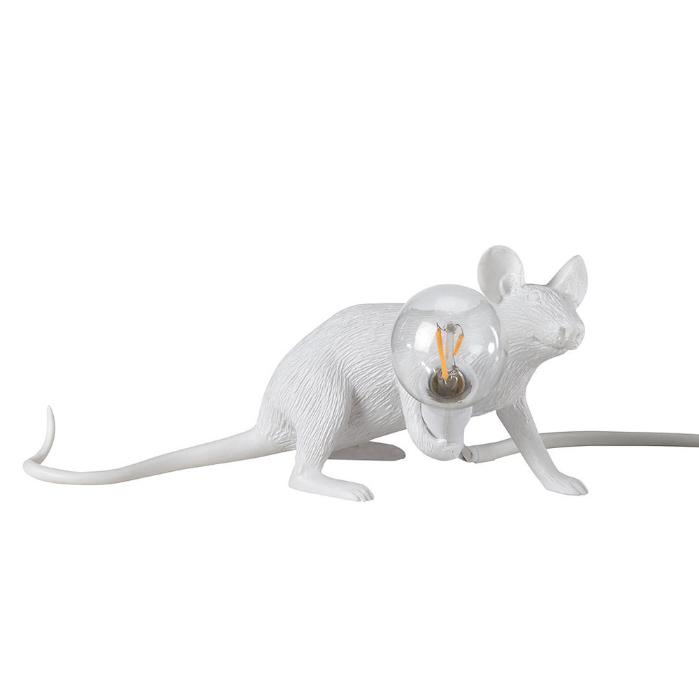 Crawling Mouse Table Lamp, White
