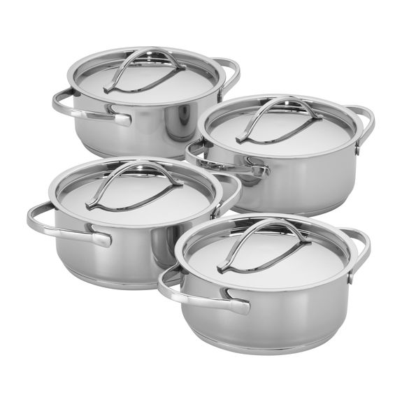 4-PC STAINLESS STEEL MINI DUTCH OVEN SET