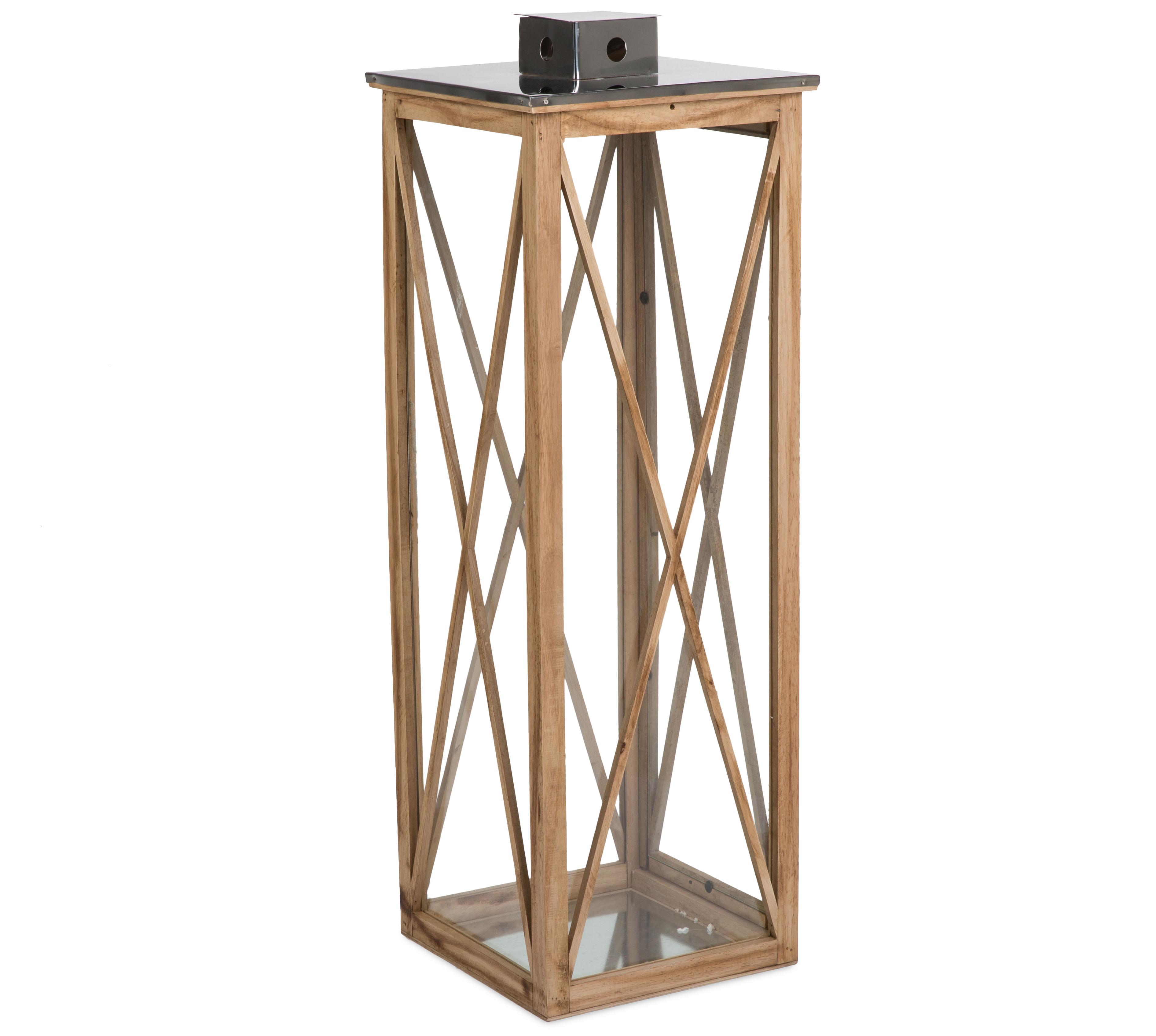 LS Wooden Lantern W/SS Top L 30X30X90cm