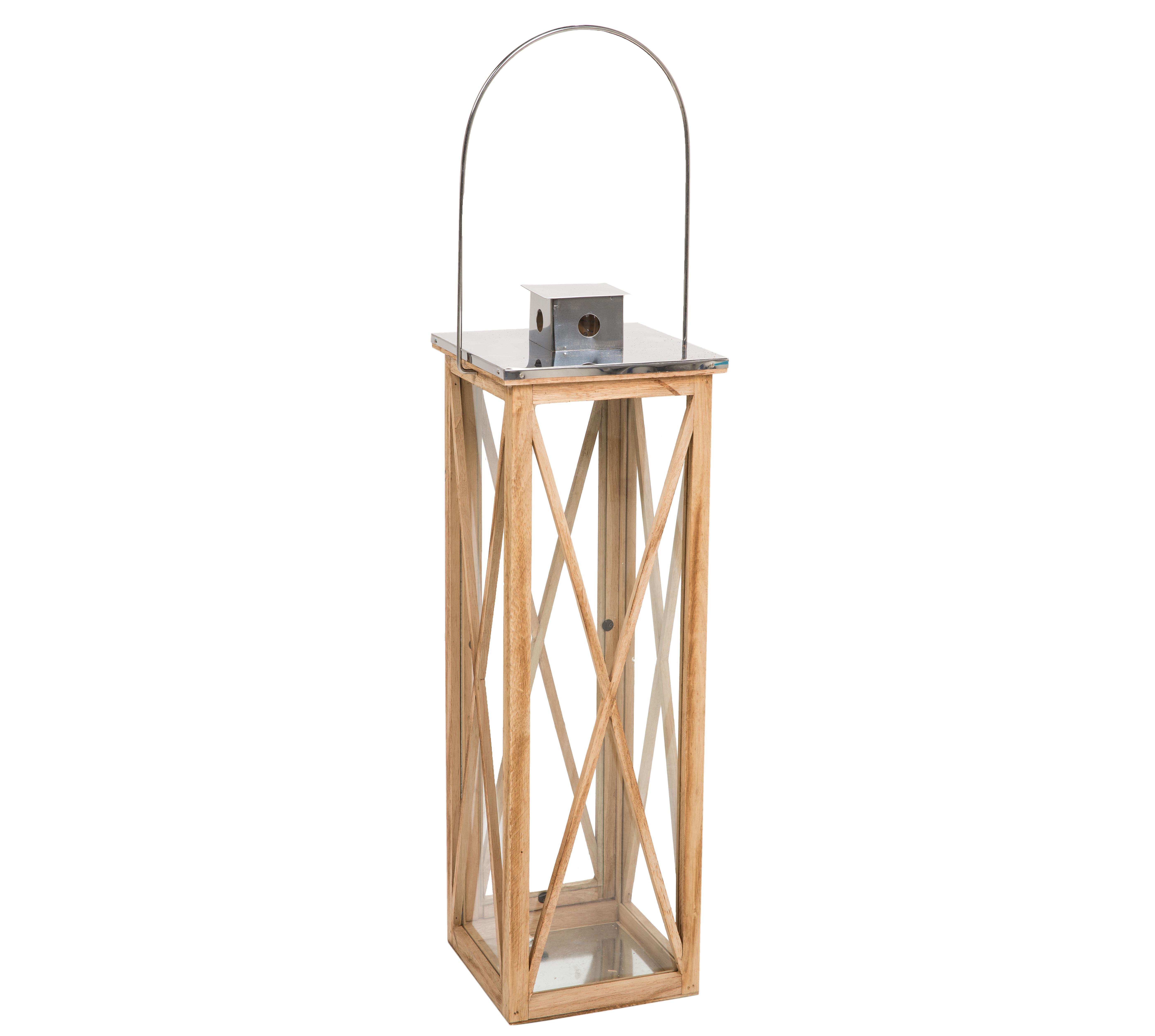 LS Wooden Lantern W/SS Top S 22X22X70cm
