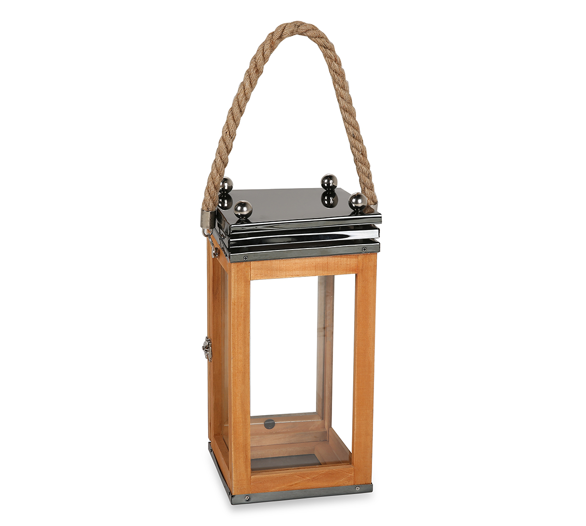LS Wooden Lantern With Rope Small