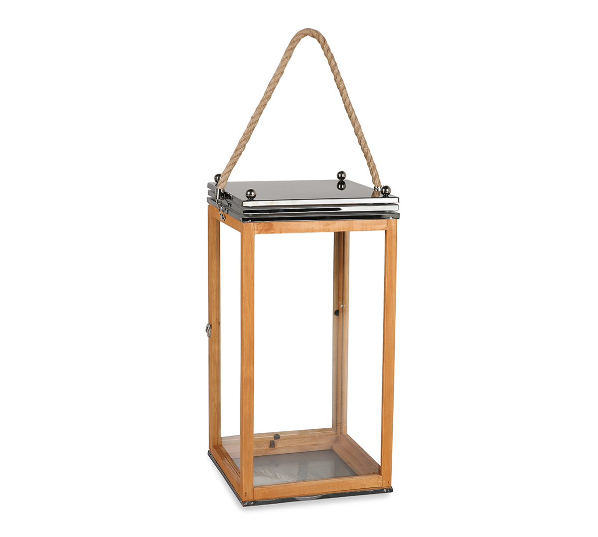 LS Wooden Lantern With Rope L