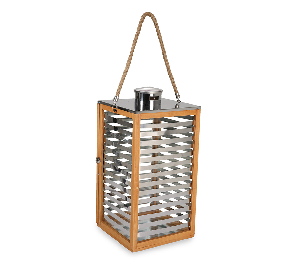LS Wooden & S.S Lantern With Rope L