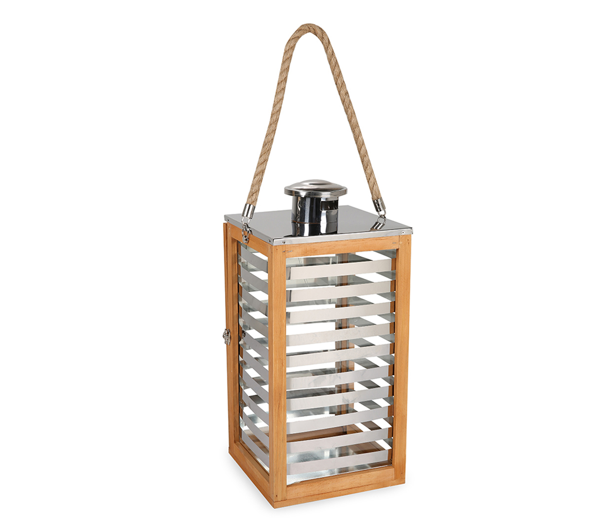 LS Wooden & S.S Lantern With Rope Small