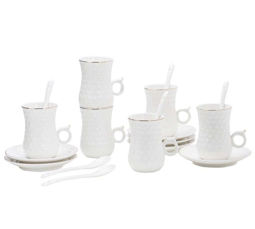 Dot Design 100CC CUP AND SAUCER WITH SPOON AND GOLD LINE 18 PIECE SET