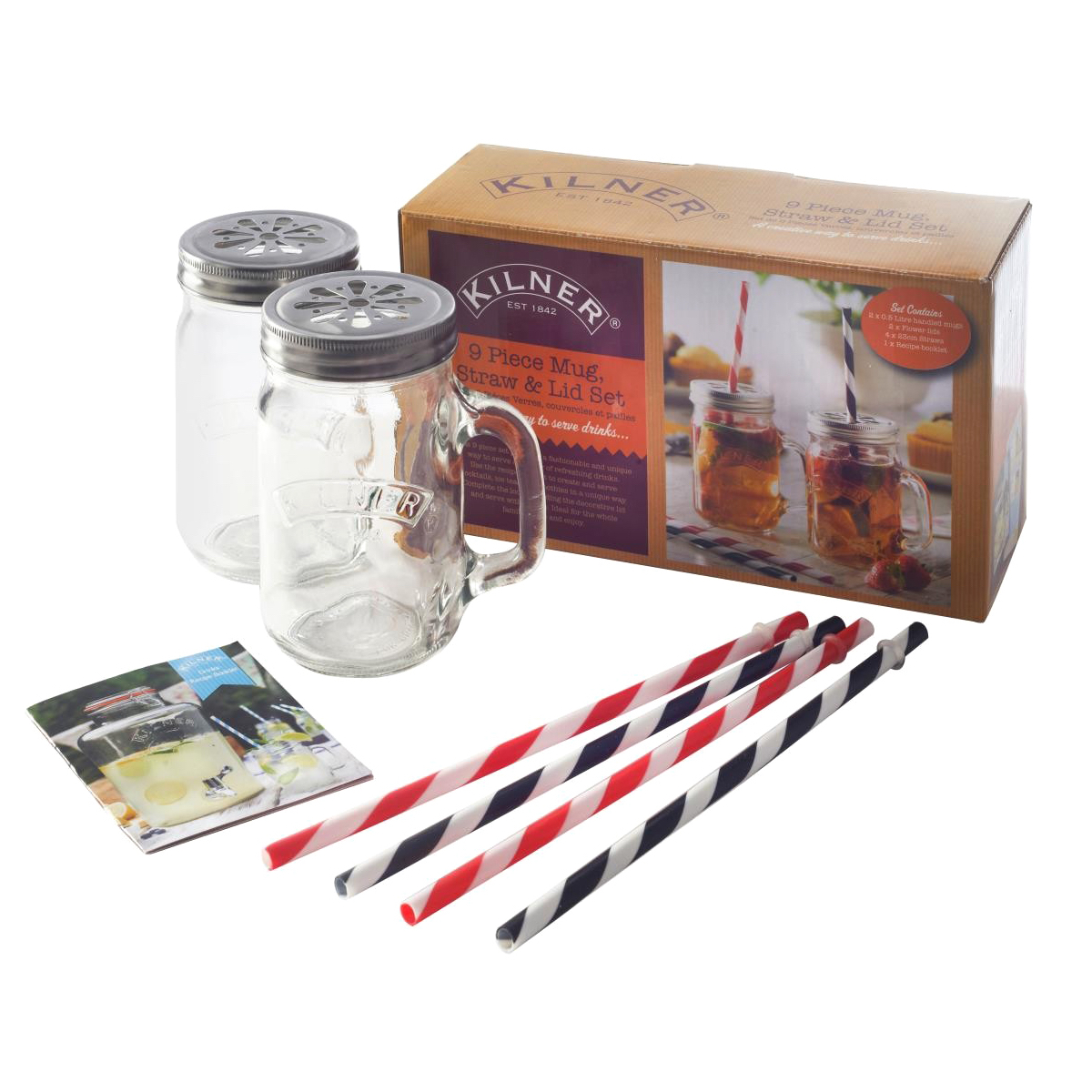A-Kilner 9 Piece Mug with Straw Set