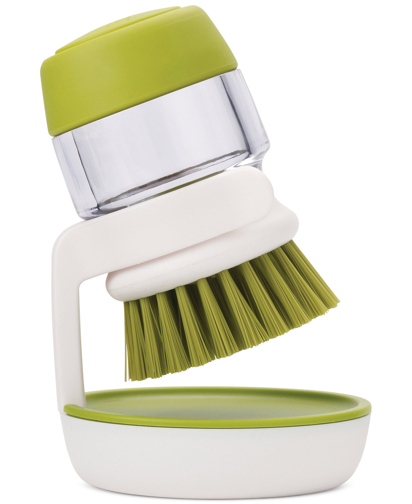 JJ Palm Scrub Brush Soap Dispensing Grn