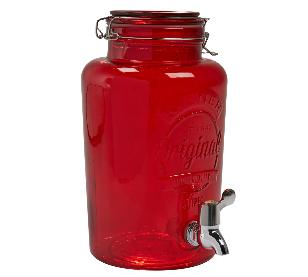 A-Kilner Round Drinks Dispenser 5L Red