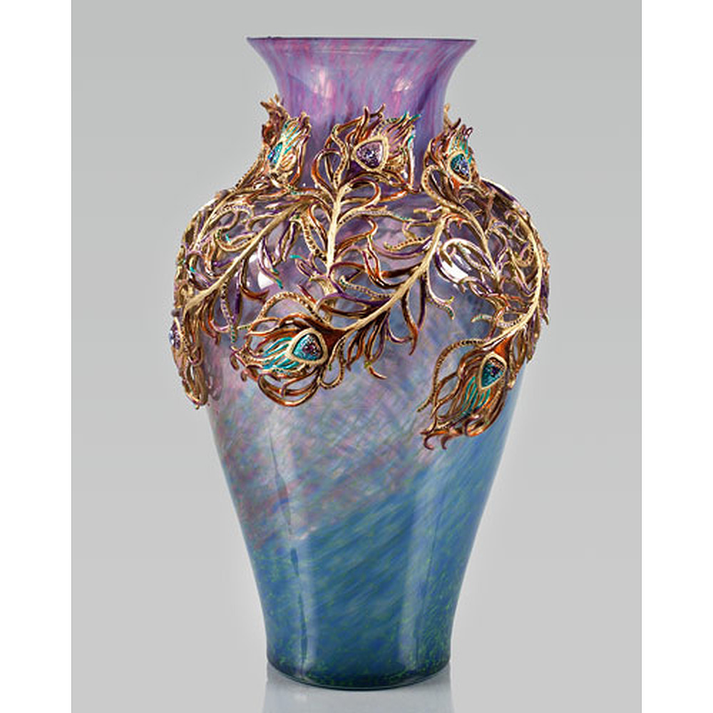 Jay Strongwater Peacock Grand Vase
