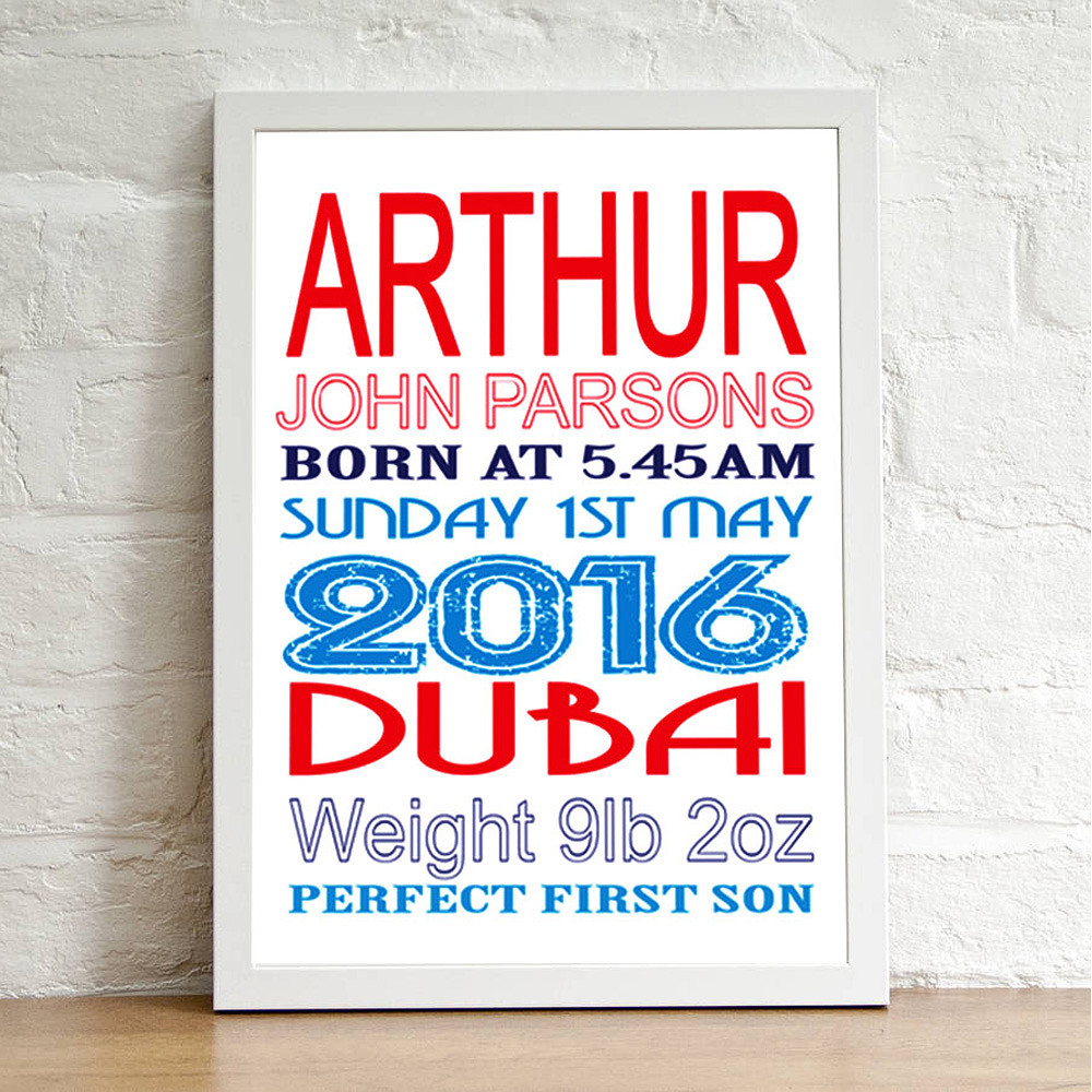 Deco Arabia Personalised Baby Print Boy White Frame