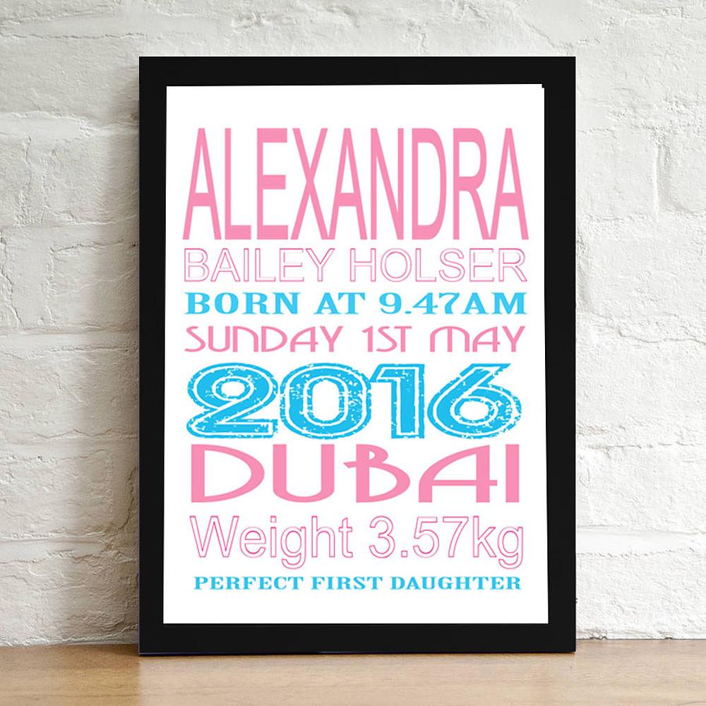 Deco Arabia Personalised Baby Print Girl Black Frame