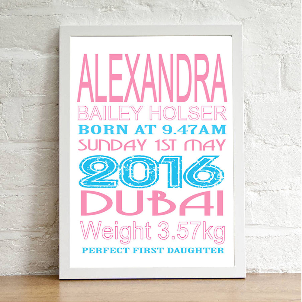 Deco Arabia Personalised Baby Print Girl White Frame