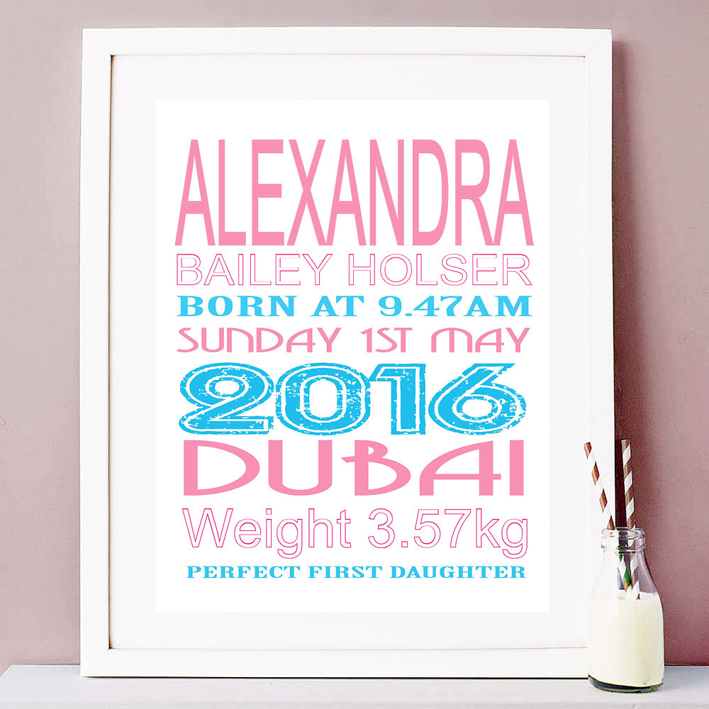 Deco Arabia Personalised Baby Print Girl White Frame w/ mount