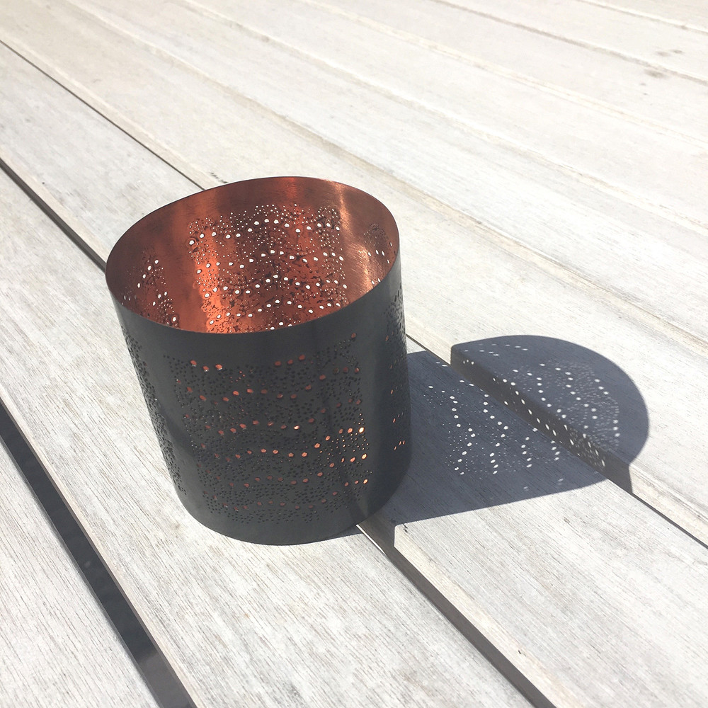 Imprint Candle Holder Smoked Copper
