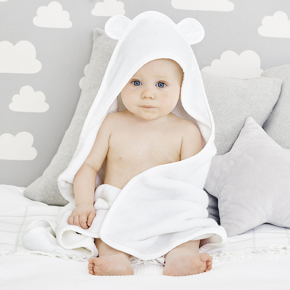 The White Company Hydrocotton Baby Towel, White Small