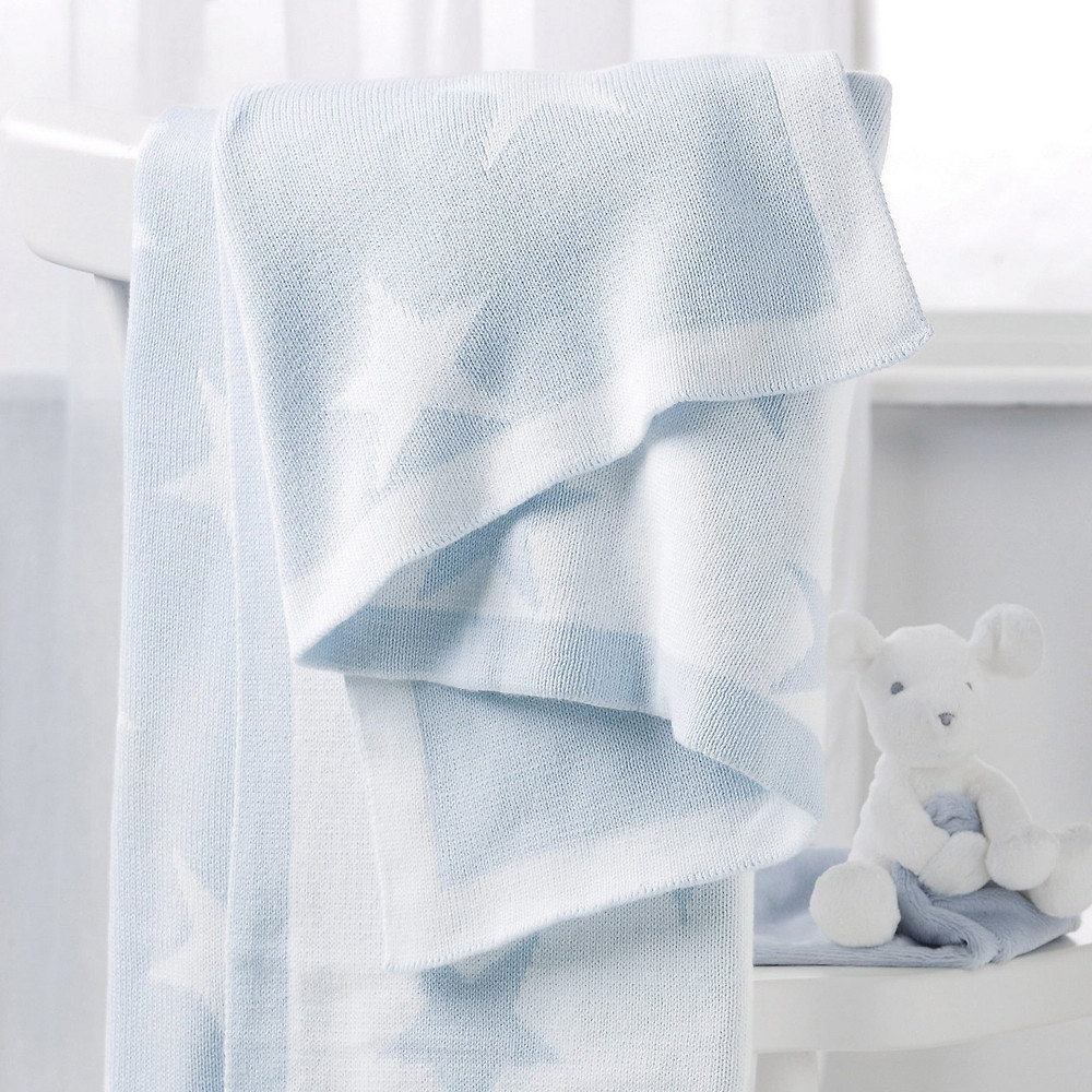 The White Company Reversible Star Baby Blanket, Baby blue