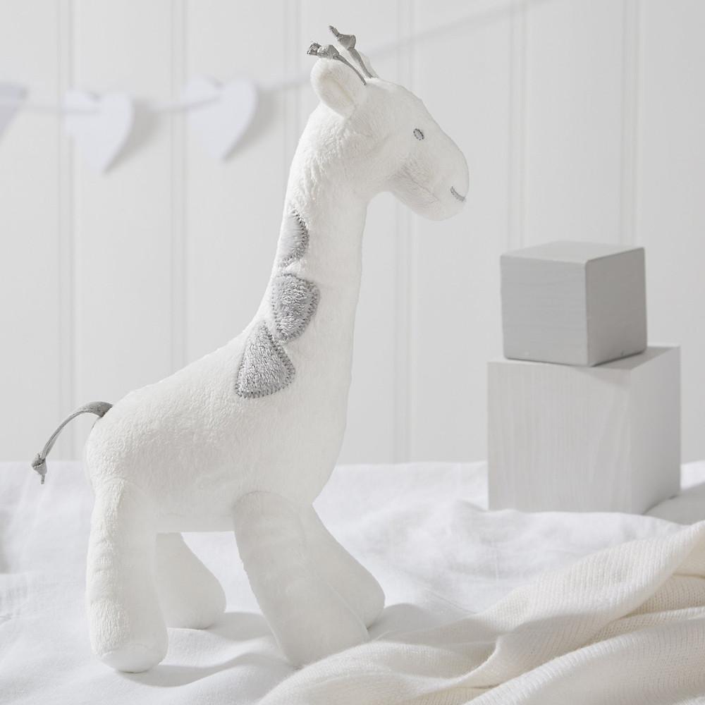 The White Company Georgia Giraffe Squeak Toy, White Grey