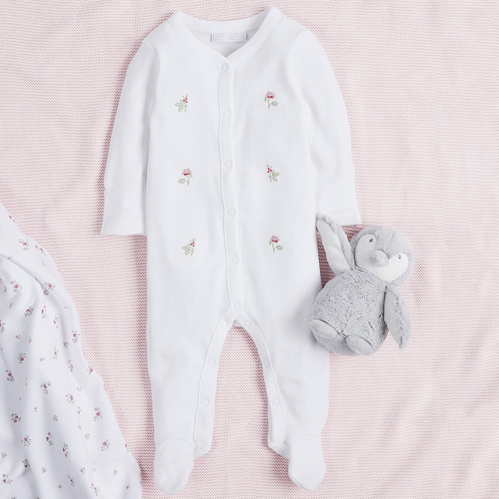The White Company Winter Blossom Embroidered Sleepsuit, White