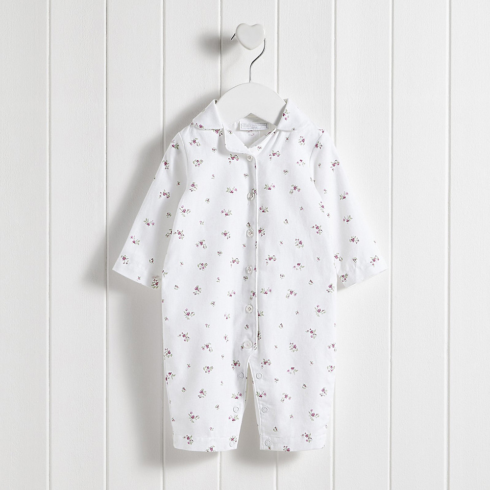 The White Company Winter Blossom Flannel Sleepsuit