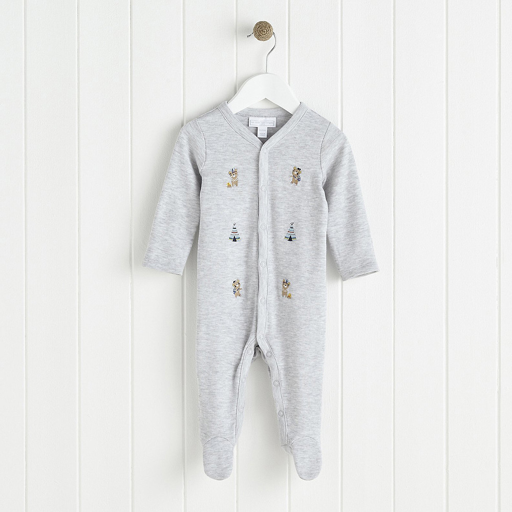 The White Company Little Warrior Bear Embroidered Sleepsuit