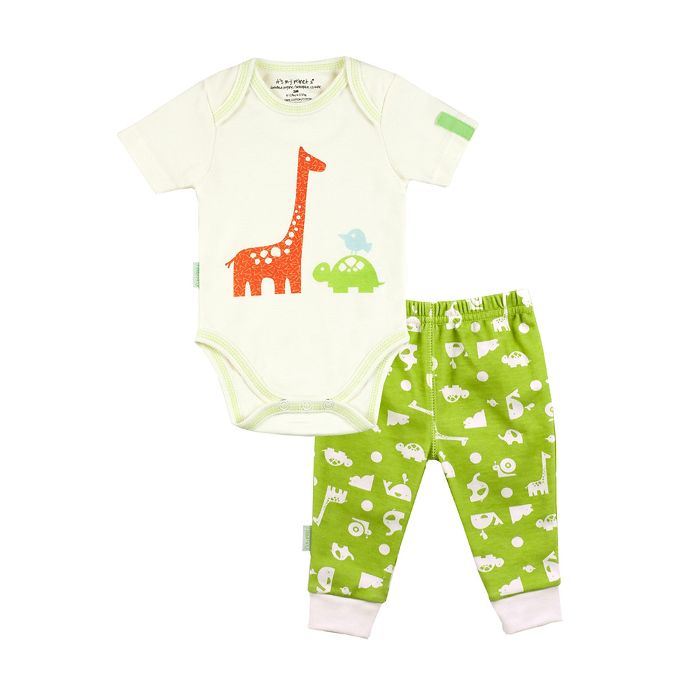 Kushies Its My Planet Bodysuit & Pant Set, Green