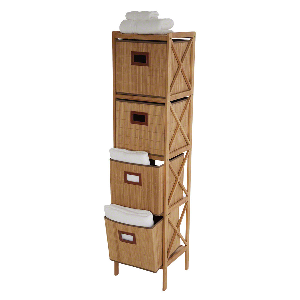 Home Centre Bamboo Bathroom Cabinet with 4 Drawers