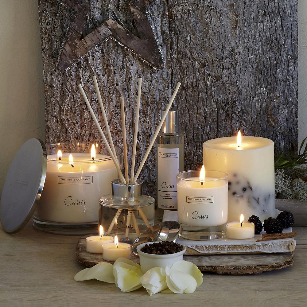 The White Company Cassis Pillar Botanical Candle
