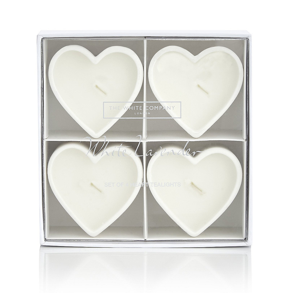 The White Company White Lavender Heart-Shaped Tealights, Set of 4