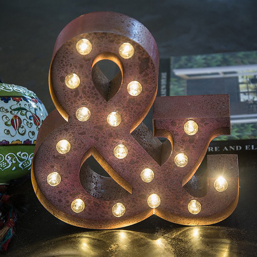 Lights & Letters Red Rusty Ampersand