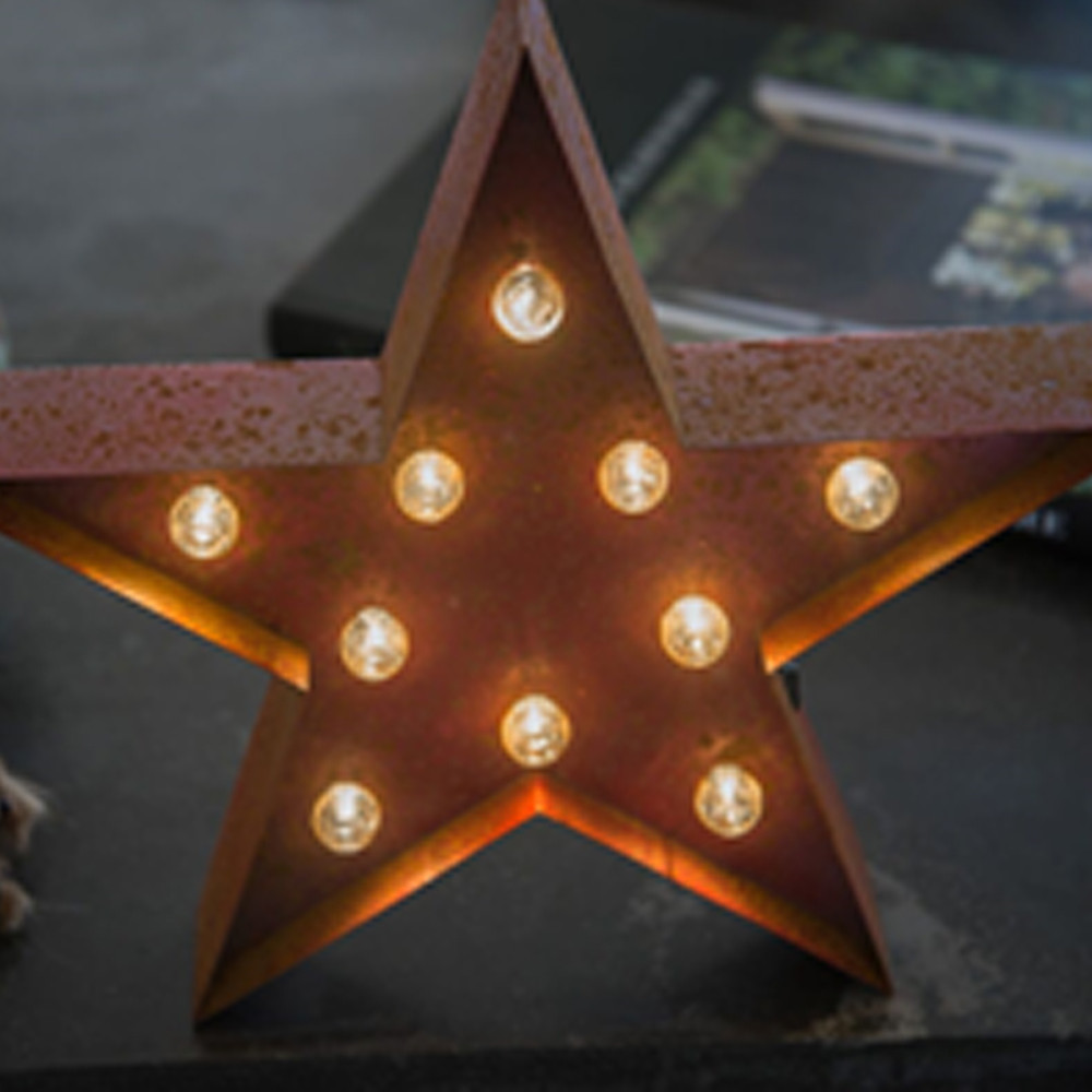 Lights & Letters Red Rusty Star