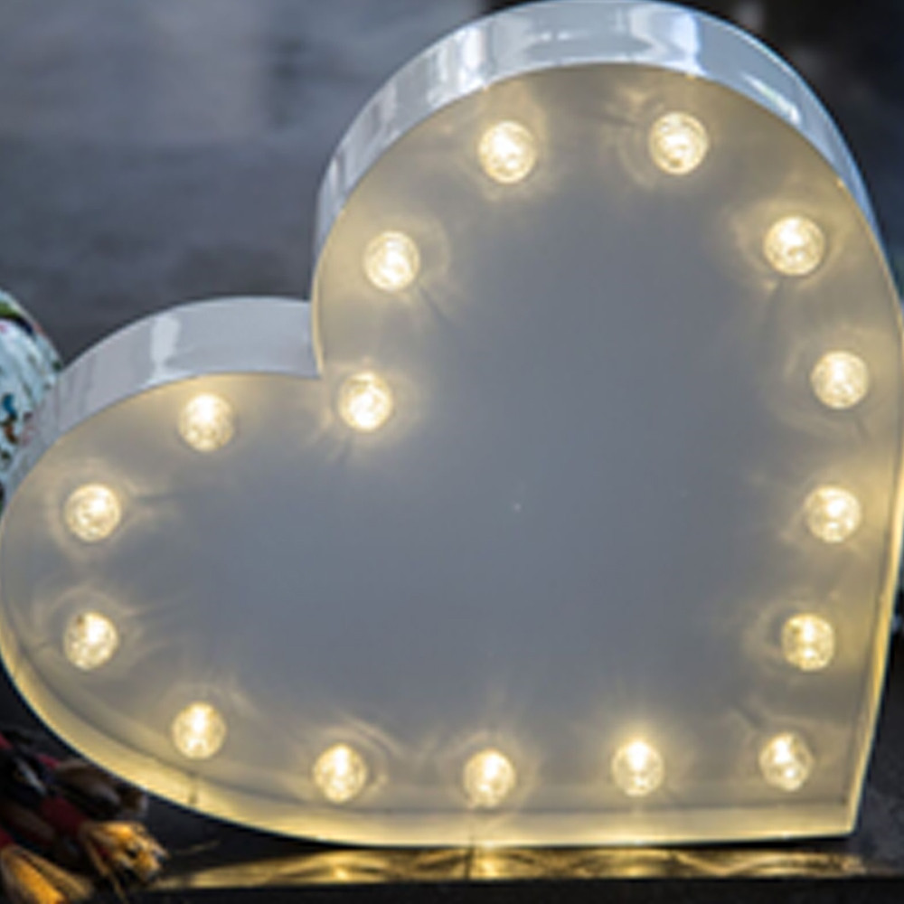 Lights & Letters White Heart