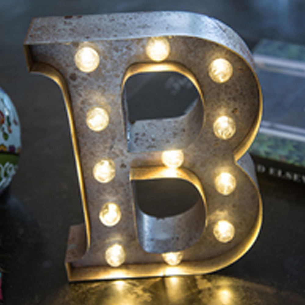 Lights & Letters Silver Rusty B