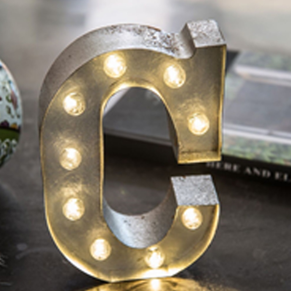 Lights & Letters Silver Rusty C