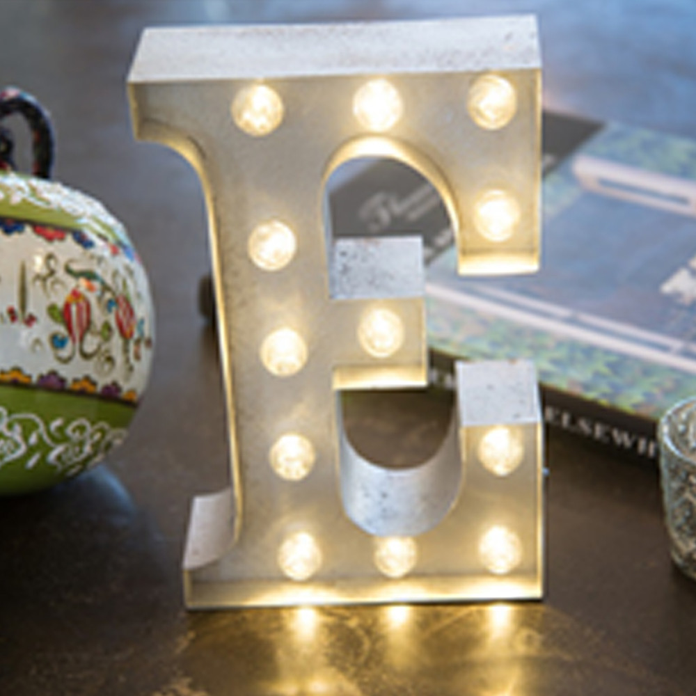 Lights & Letters Silver Rusty E
