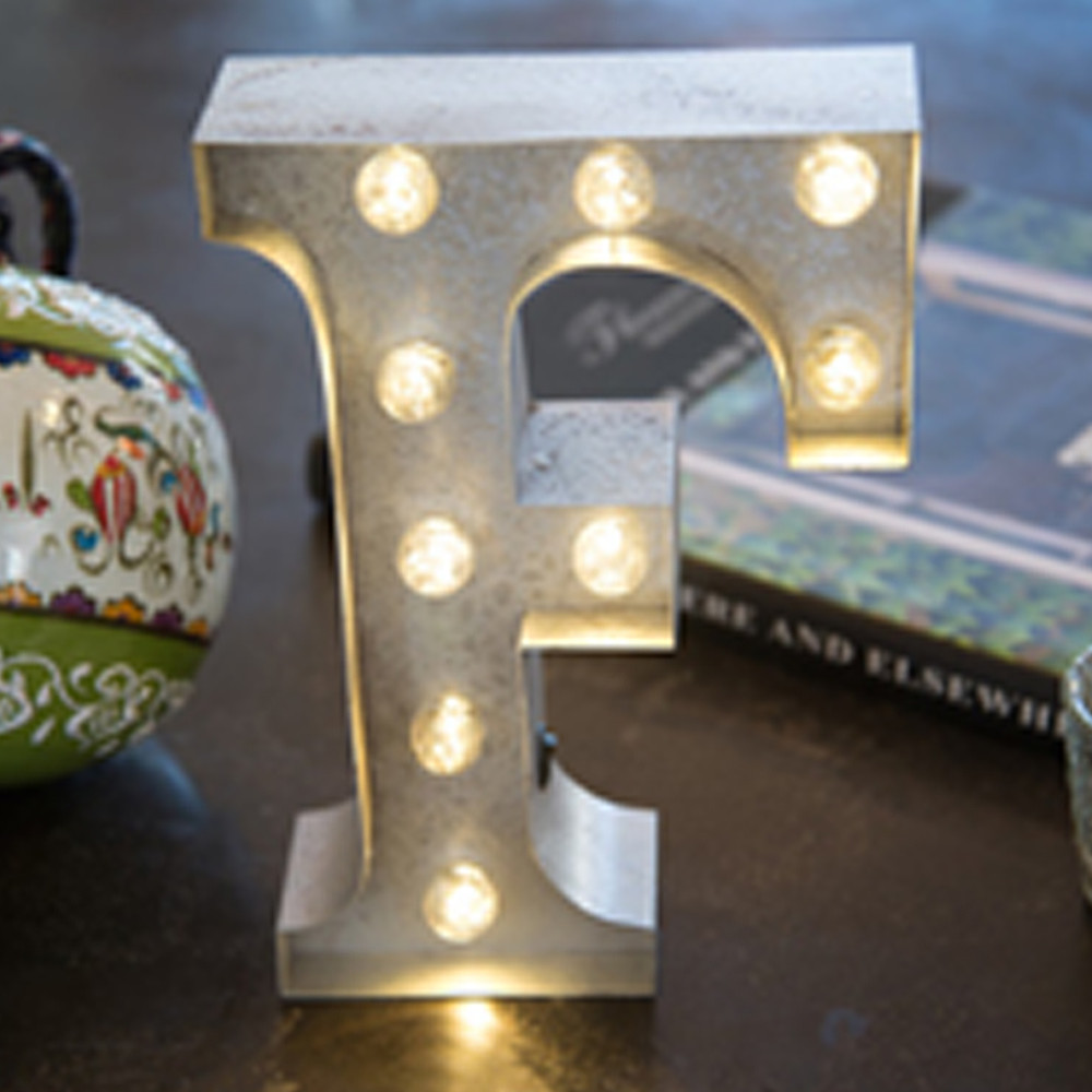 Lights & Letters Silver Rusty F