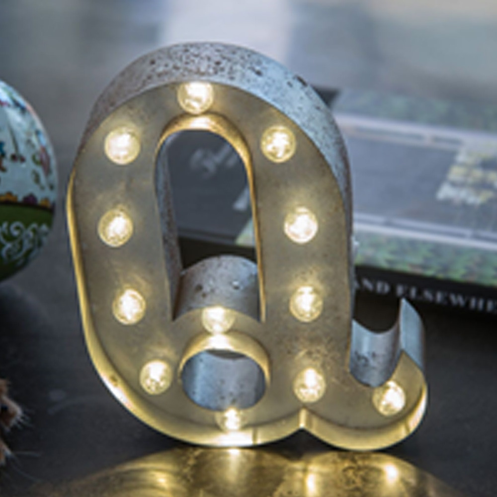 Lights & Letters Silver Rusty Q