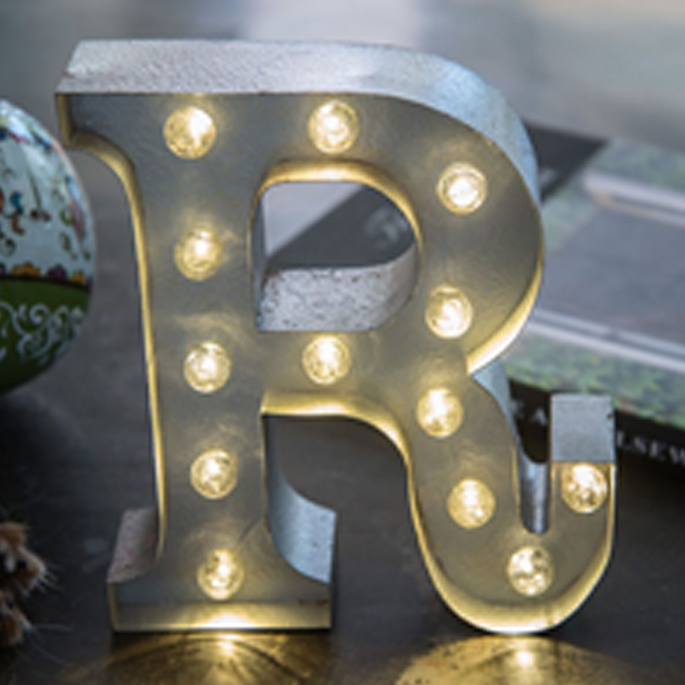 Lights & Letters Silver Rusty R