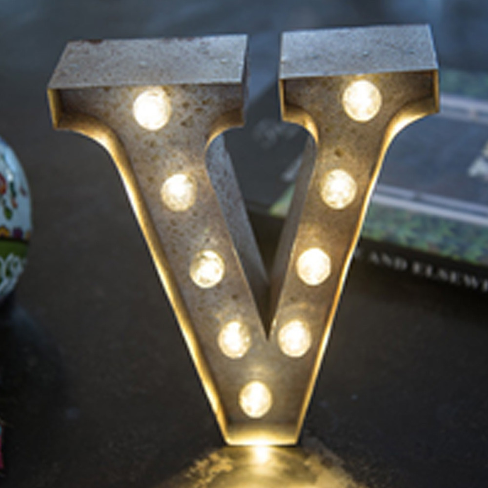 Lights & Letters Silver Rusty V