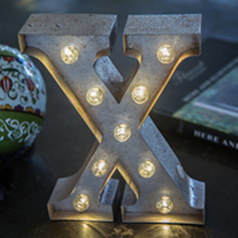 Lights & Letters Silver Rusty X