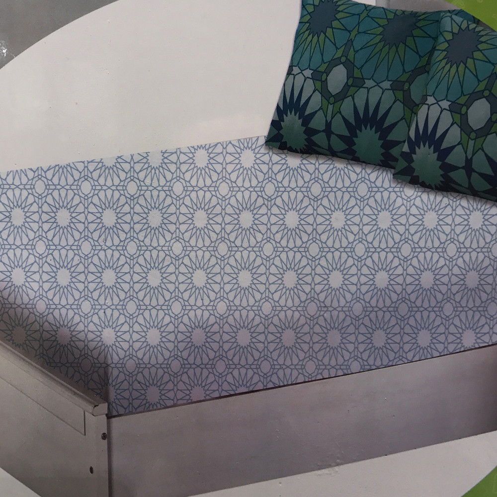 Home Centre Arabesque Fitted Sheet Blue