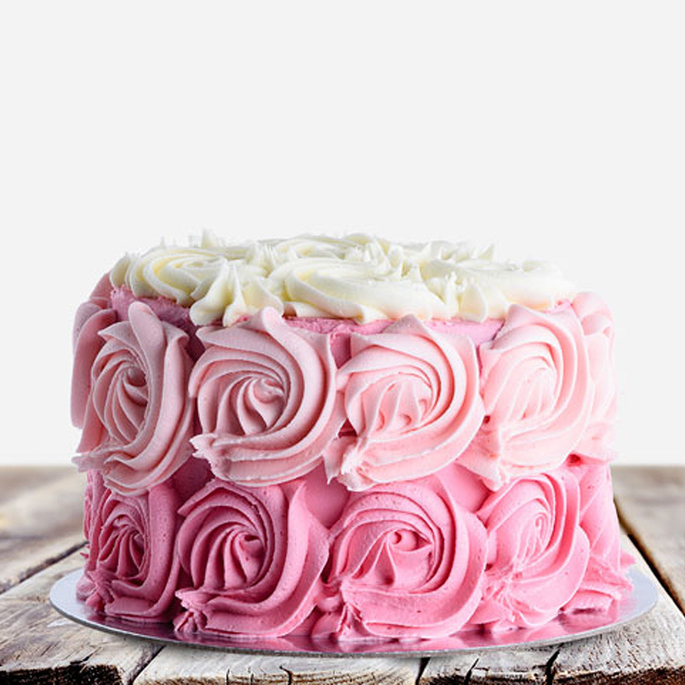 800 Flower Ombre Pink Rose Cake (Serves 12)