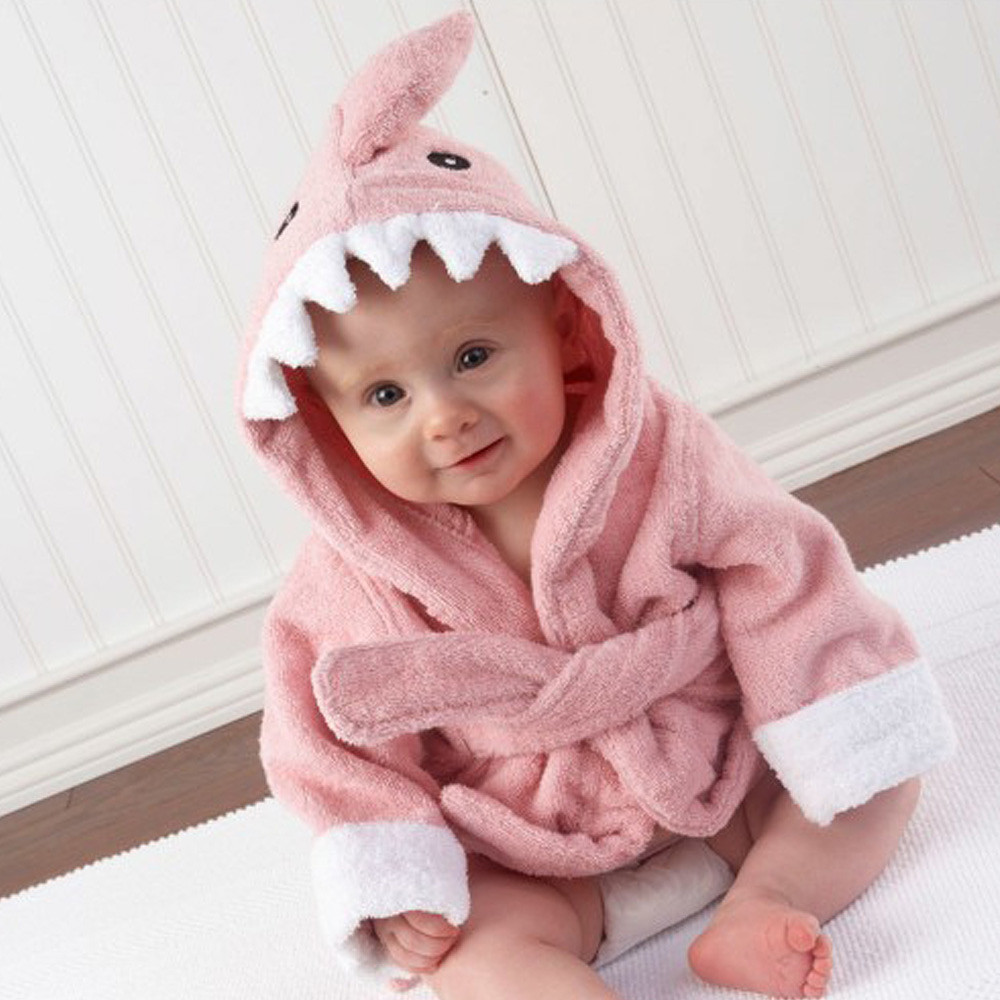 Baby Aspen Terry Shark Robe Pink