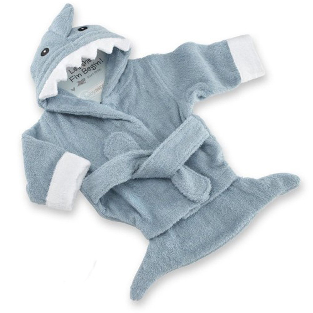 Baby Aspen Terry Shark Robe Blue