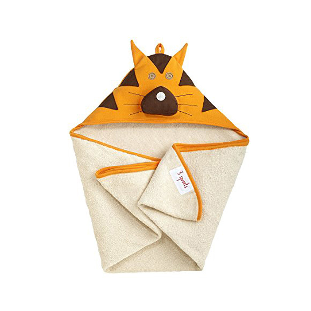3 Sprouts Hooded Towel Orange Tiger