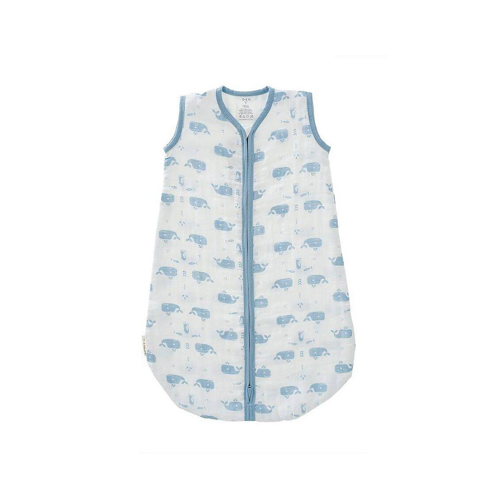 Fresk Muslin Sleeping Bag Blue Whales White